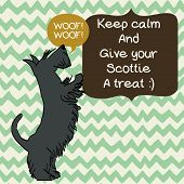 stock photo of begging  - Cute card template with sketch of a sweet standing Scottish terrier and figure frames for the text on doodle chevron background - JPG