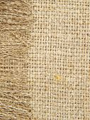 Natural Linen Texture With Fringe Taken Closeup.background.