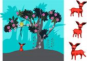 picture of chiwawa  - red chiwawa sitting under a tree full of flowers - JPG