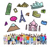 Large Group of Multiethnic Children Travel Destinations