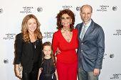 NEW YORK-APR 21: (L-R) Sasha Alexander, daughter Lucia, Sophia Loren and director Edoardo Ponti attend the Shorts Program: Soul Survivors at AMC Loews Village 7 on April 21, 2014 in New York City.