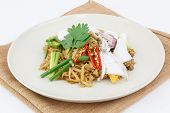 Thai Food Pad Thai, Stir-fried Rice Noodle With Squid