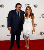 NEW YORK-APR 22: Actor Jon Favreau (L) and Sofia Vergara attend the premiere of