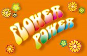 picture of woodstock  - Flower power lettering with floral symbols on orange background - JPG