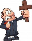 Cartoon priest holding a big cross. Vector clip art illustration with simple gradients. All in a sin