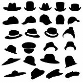 foto of bowler hat  - isolated vector collection of hats silhouette - JPG