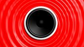Speaker with red abstract capillary wave