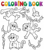 picture of monkeys  - Coloring book monkey theme 1  - JPG