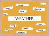 stock photo of pegboard  - Weather Corkboard Word Concept with great terms such as tornado rain severe and more - JPG