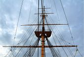 picture of sailing-ship  - Sail boat masts - JPG