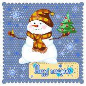 Merry Christmas Snowman With Christmas Tree