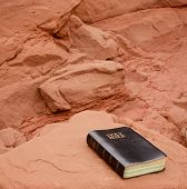pic of holy-bible  - Holy Bible rests on rich color sandstone - JPG