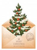 Vintage Christmas creative still life with envelope and spruce. Vector illustration isolated on white background.