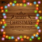 Christmas festive background with glowing electric garland
