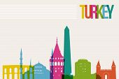 foto of world-famous  - Travel Turkey famous landmarks skyline multicolored design background - JPG