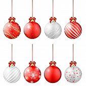 Set Of Shiny Christmas Balls On White Background