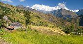 Beautiful Village In Western Nepal With Dhaulagiri Himal