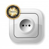 White Electric Socket. Best icon. Vector Illustration.