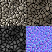 Cobble Stones Seamless Generated Texture (with Diffuse, Bump And