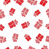 Seamless vector Gift pattern, red gift boxes on white background.