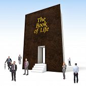 business people and huge 3d book of life
