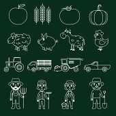 Farm icons set outline