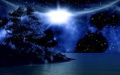 pic of moonlit  - 3D background with island in sea against a moonlit sky - JPG