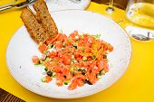 Salad With Salmon, Zucchini And Onion