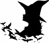 Illustration Featuring the Silhouette of a Witch Transforming Into Birds