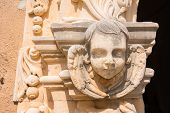 picture of cherubim  - Angelic cherubim carving detail on Spanish Mission San Jose in San Antonio - JPG