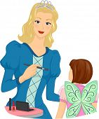 Illustration Featuring a Woman in Costume Applying Make-up on a Girl's Face