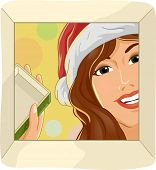 Illustration Featuring a Woman Opening Her Christmas Gift Excitedly