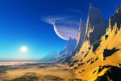 Space landscape on the planet.
