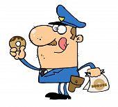 Hungry weiß Cop seine Lippen lecken und halten ein donut