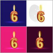 the number six in the form of a burning candle