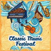 stock photo of clarinet  - Classic music festival poster with piano violin trumpet instruments vector illustration - JPG