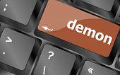 Demon Word On Keyboard Key, Notebook Computer Button