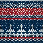 pic of scandinavian  - Seamless pattern ornament on the wool knitted texture - JPG