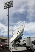HARTFORD - OCTOBER 10: Media trucks outside at Rentschler Field stadium between match US Men`s National Team vs Ecuador, on October 10, 2014, in Rentschler Field stadium, Hartford, USA.