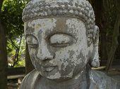 Buddha face stone statue in Hong Kong China