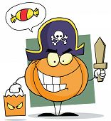 Cartoon character halloween pumkin bag and wooden sword
