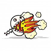 stock photo of fire-breathing  - fire breathing skull cartoon - JPG