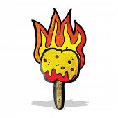 stock photo of toffee  - flaming toffee apple cartoon - JPG