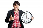 Asian Man Thumbs Up At 4 O'clock