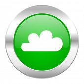 cloud green circle chrome web icon isolated