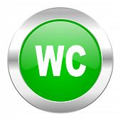 toilet green circle chrome web icon isolated