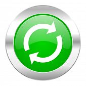 reload green circle chrome web icon isolated