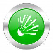 bomb green circle chrome web icon isolated