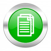 document green circle chrome web icon isolated