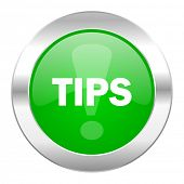 tips green circle chrome web icon isolated